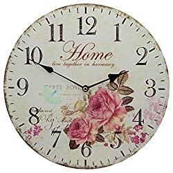 13 Wall Clock with French Style Home and Roses Flower Butterfly Rustic Prints