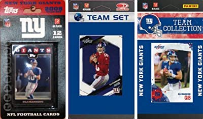 NFL New York Giants 3 Different Licensed Trading Card Team Sets