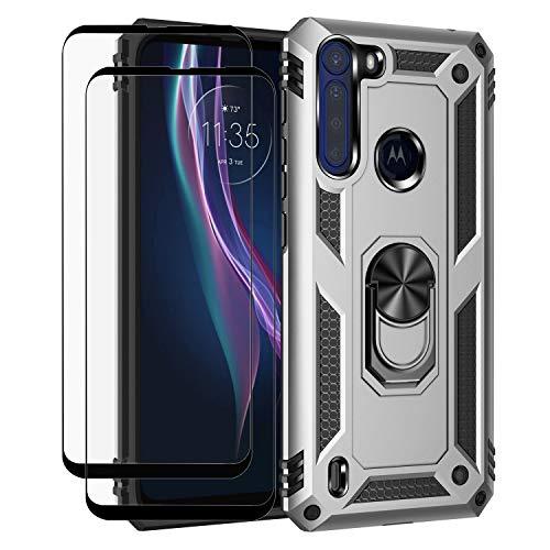 Funda + 2 Vidrios Templados Motorola One Fusion Plateado
