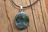 Green Moss Agate Palm Stone on a Leather Cord Necklace
