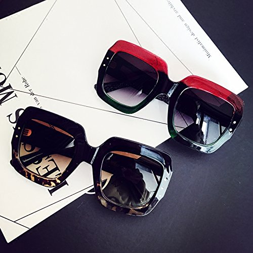 Sunyan l'Europe, les États-Unis, grande boîte rouge couleur forage flash transparente visage mince résistant aux UV, lunettes de soleil femme, marée noire sur le Léopard (la boîte de verre +)