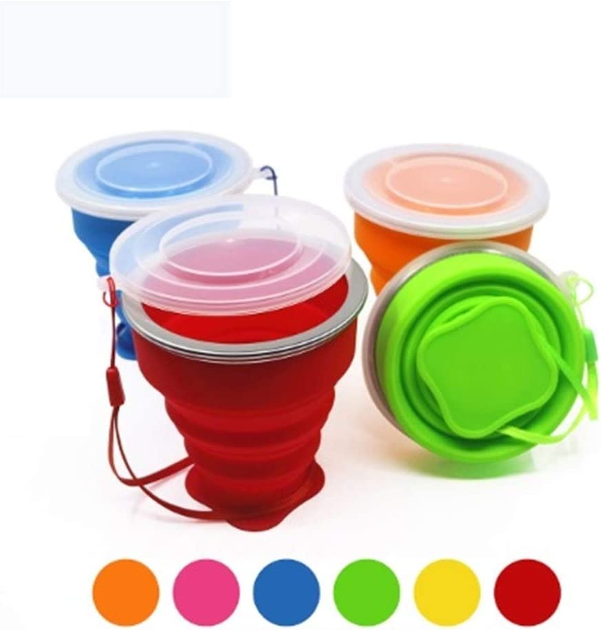 Color : Dark Blue 1 Piece A-YSJ Collapsible Cup Mini Telescopic Portable Silicone Folding Cup with Dust Cover Outdoor Coffee Cup Travel Drinking Water Cup