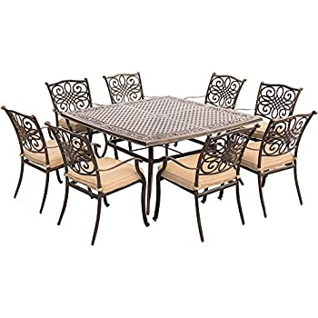 Hanover Traditions 9 Piece Square Dining Set With Stationary Dining Chairs  And A Large Dining Table