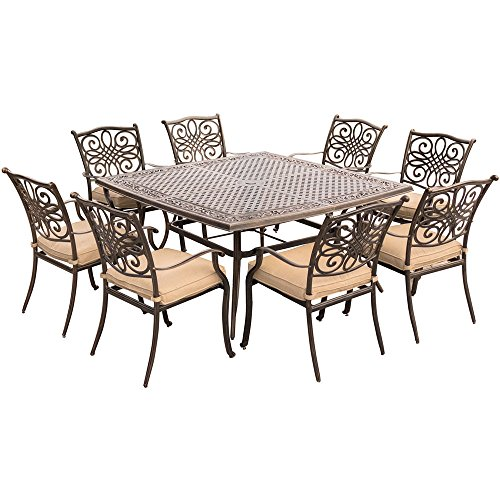 Hanover Traditions 9 Piece Square Dining Set with Stationary Dining Chairs and a Large Dining Table, 60 x 60
