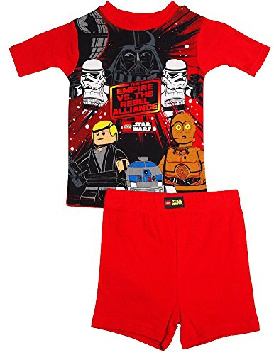 Star Wars - Little Boys Short Sleeve Lego Star Wars Shorty Pajamas, Red (Red Shorty Pajamas)