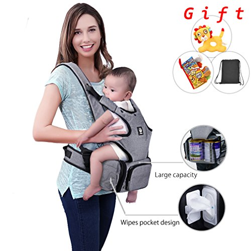 Baby Carrier with Hip seat and Baby Diaper Bag 2-in-1 by Unihope,360/° Ergonomic,for All Seasons,Large Capacity,Grey