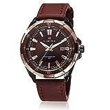 GOHUOS Mens Sport Brown Leather Strap Waterproof Auto Date Calendar Quartz Wrist Watch