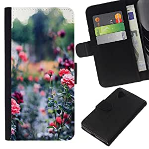 All Phone Most Case / Oferta Especial Cáscara Funda de cuero Monedero Cubierta de proteccion Caso / Wallet Case for LG Nexus 5 D820 D821 // Garden Green Royal Thorn