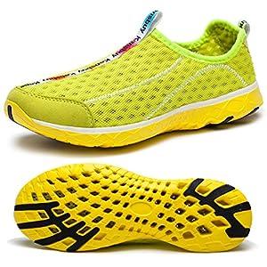 WOTTE Women's Quick Drying Mesh Slip On Water Shoes Lightweight Casual Aqua Shoes (8.5 B(M) US, Yellow)