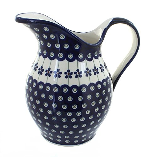 - Polish Pottery Flowering Peacock Pitcher