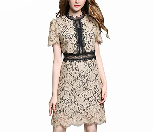 Ao Fer Nema Lace Women Fashion Hollow Out Patchwork Summer Dress Plus Size