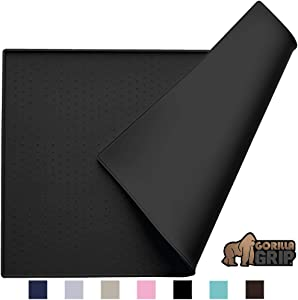 Gorilla Grip Original Silicone Pet Feeding Mat, BPA Free, Easy Clean, Dishwasher Safe, Waterproof, Raised Edges, Pets Placemat Tray Mats to Stop Cat and Pet Food Spills and Water Bowl Messes on Floor