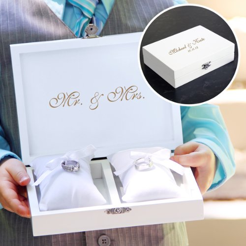 (Mr & Mrs Ring Bearer Pillow Box in Bridal White with Jewelry Inserts & FREE Personalization)