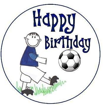 Amazon.com: Feliz cumpleaños fútbol Boy azul decoración para ...