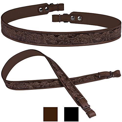 BronzeDog Embossed Rifle Strap Genuine Leather Adjustable Belt Hunting Shotgun Sling (Brown - Animals Embossing) - Leather Rifle Straps