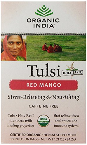 Mango Red Tea Tea - Organic India Tulsi Tea Red Mango, 18 Count