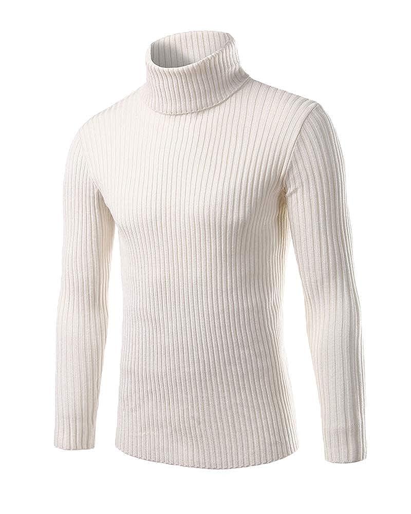 f208cb97b4a Suncaya Pulls Basique Homme Sweater Col Roulé Chandails Jumper Manches  Longues Casual Sweatshirt Slim Fit