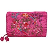Silky Embroidered Brocade Travel Jewelry Organizer Roll Pouch - Pink