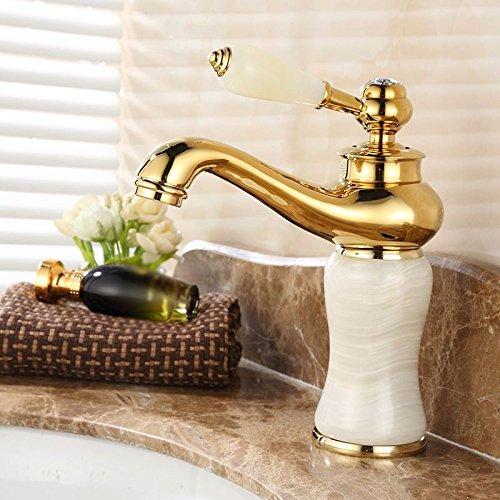 GBHNJ Taps Bathroom Basin Hot And Cold Jade Stone Single Handle Single Hole Mixer H