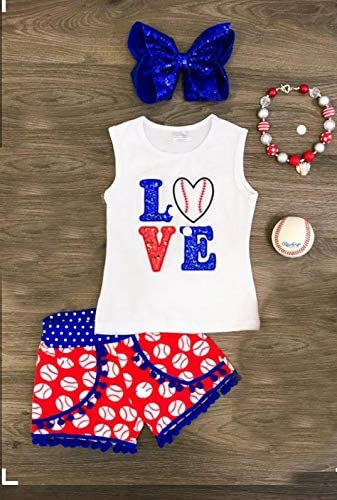 Toddler Baby Girls Shorts Outfits Love Baseball Print Vest T-Shirt Tops Tassel Pants Summer Clothes Set