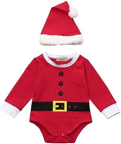 Baby Christmas Santa Outfits Boy Girl Kids Romper Jumpsuit Hat Clothes Set1-2T