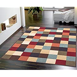 "Ottomanson Otto Home Collection Boxes Contemporary Checkered Design Modern Area Rug with Non-Skid (Non-Slip) Rubber Backing, 98"" L x 118"" W, Multi-Color"