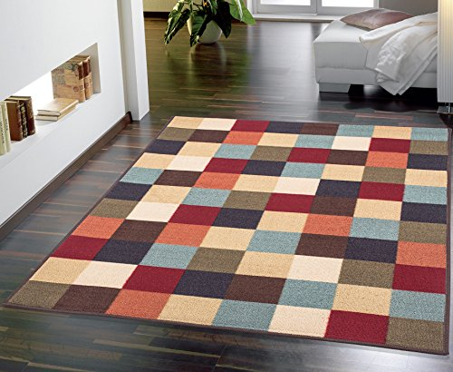 Ottomanson Ottohome Collection Contemporary Checkered Design Non-Skid Rubber Backing Modern Area Rug, 5' X 6'6