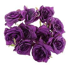 Artificial Silk Rose Flower Appliques Heads Wedding Party Decoration DIY Craft - Purple