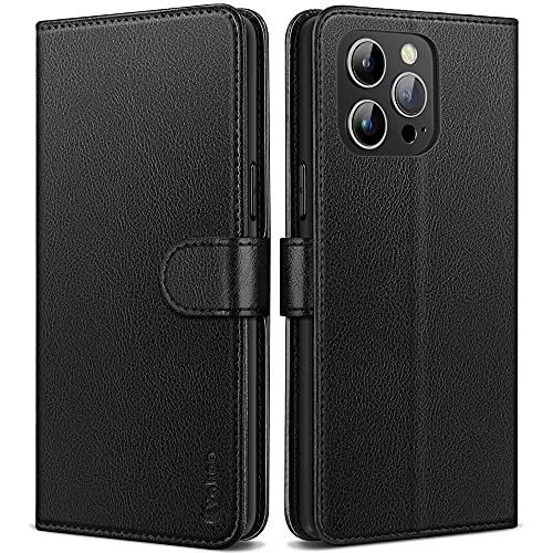 Vakoo Compatible with iPhone 13 Pro Max Case, Magnetic Wallet Leather Flip Protective Cover Case for iPhone 13 Pro Max with RFID Blocking - Black