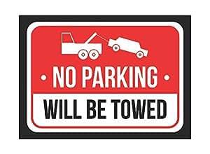 Sin Aviso Rojo, Blanco y Negro de impresión de aparcamiento será remolcado aparcamiento Metal 8x 12pequeña señal–1unidades de señales
