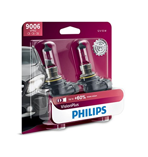 (Philips 9006 VisionPlus Upgrade Headlight Bulb with up to 60% More Vision, 2 Pack)