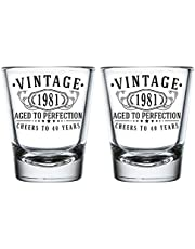 Vintage 1981 Printed 2oz - 2pk. Shot Glasses, 40th Birthday Aged to Perfection, 40 years old gifts