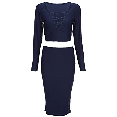 598fb9287f58c Hannea Stylish Plunging Neck Long Sleeve Criss-Cross Crop Top + Pure Color Bodycon  Midi Skirt Two Piece Dress for Women  Amazon.in  Clothing   Accessories