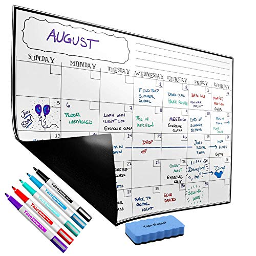 """Magnetic Calendar for Fridge - Dry Erase Whiteboard for Kitchen Refrigerator - 17X12"""" - 5 Fine Tip Markers and Large Eraser with Strong Magnet - Monthly White Board- Perfect Planner To Stay Organized by Yaze Magnet"""