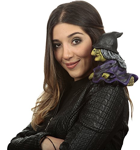 Evil Witch Sitting on Broom Halloween Shoulder Buddy Costume Accessory
