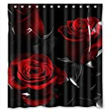 Glam Fire Red Rose And Black Leaves Best Home Fashion Custom Fabric Bathroom Shower Curtain 60(W)X72(H)