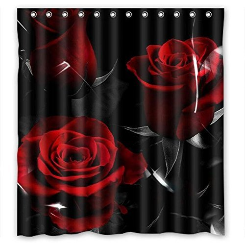 Glam Fire Red Rose And Black Leaves Best Home Fashion Custom Fabric Bathroom Shower Curtain 60(W)X72(H) by GCKG