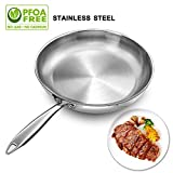 electric stainless frying pan - Stainless Steel Frying Pan 11 Inch, Induction Base Fry Pan 2.2 Inch Deep / Chef Round Flat Saute Pan for Fish Egg Chicken Frying - Dishwasher Safe