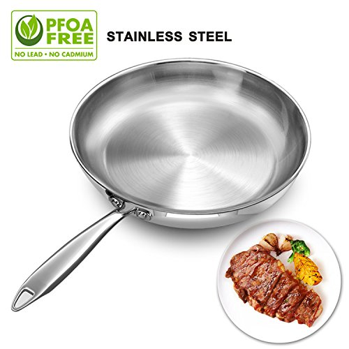 Stainless Steel Frying Pan 11 Inch, Induction Base Fry Pan 2.2 Inch Deep / Chef Round Flat Saute Pan for Fish Egg Chicken Frying - Dishwasher Safe