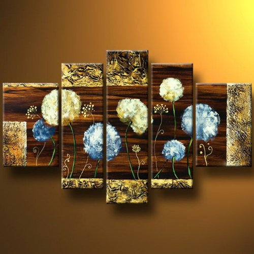 - Wieco Art Dandelion Kites - Modern Artwork 5 panels 100% Hand-painted Abstract Floral Oil Paintings on Canvas Wall Art for Decor 5pcs/set III