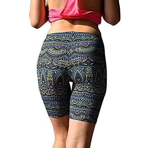 (iLUGU Women Print Sports Pants Work Out Soft Yoga Brushed Active Stretch Yoga Bike Boho Short Green)