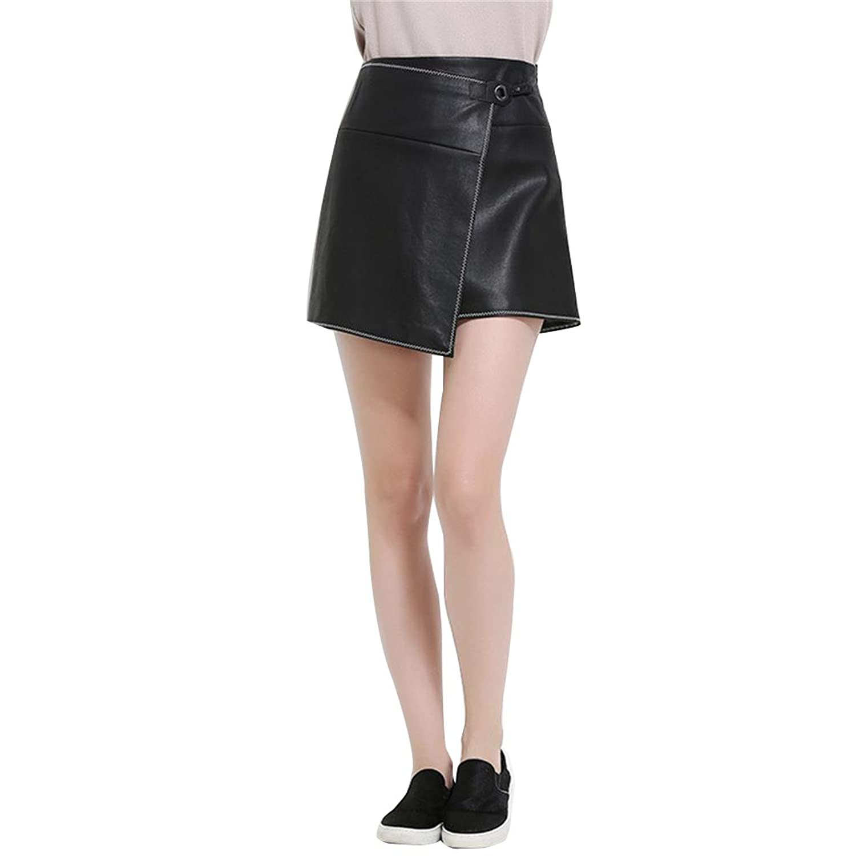 Jack Mall- Simple Fashion Leather Skirt Irregular Wild Skirt Skirt Women Short Skirts