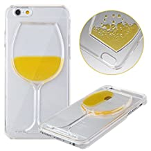 iPhone 5S Case, iPhone 5S Red Wine Glass Case, NSSTAR iPhone 5S Case iPhone 5,Liquid Case for iPhone 5S,Case for iPhone 5S,Hard Case for iPhone 5S, Fashion Creative 3D Design Flowing Liquid Red Wine Glass Design Clear Back Hard Case Cover for Apple iPhone 5S iPhone 5 (Red Wine Glass:Yellow)