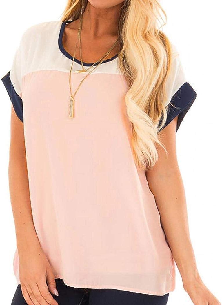 Camisas Chiffon Mujer Verano Camisetas Elegantes Moda Pin-Up Hippie Manga Corta Moda Joven Ropa Patchwork Cuello Redondo Slim Fit Camisas Tops: Amazon.es: Ropa y accesorios