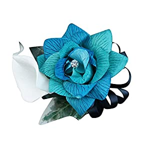 Angel Isabella Wrist Corsage – 3 Shades of Rose in Turquoise, Jade, Aqua, White Calla Lily
