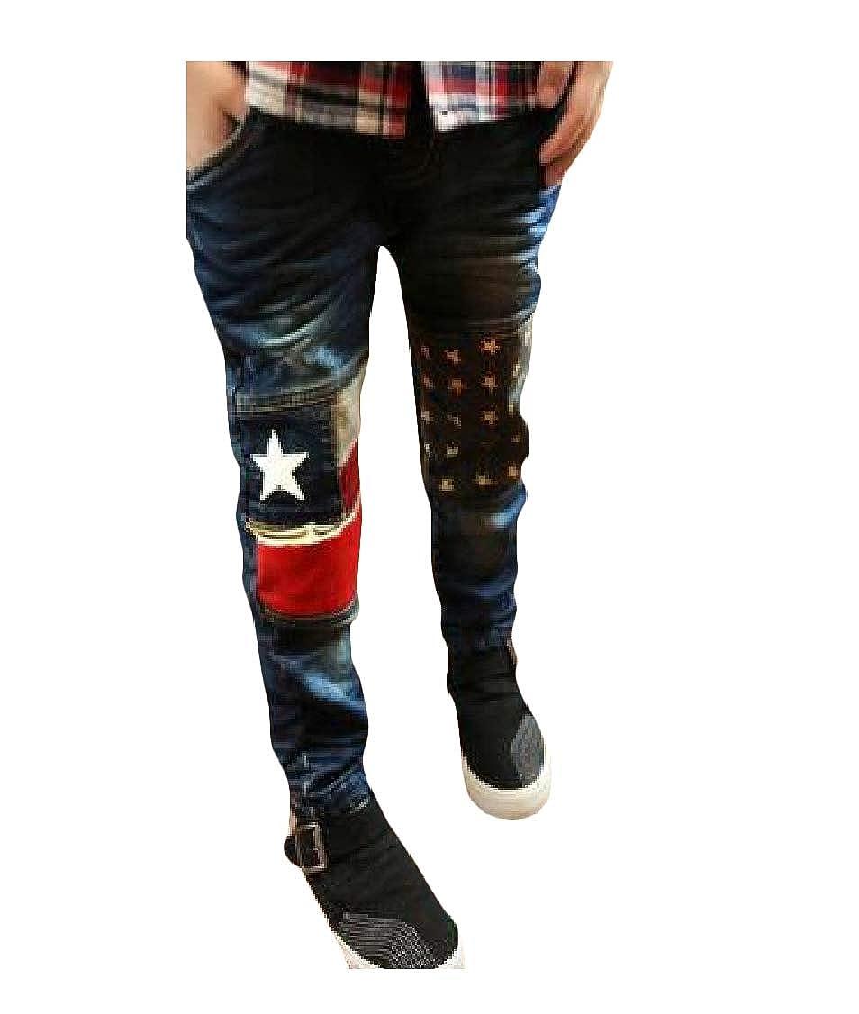 pipigo Boys Denim Slim Printed Trousers Jeans Elastic Waist Pants