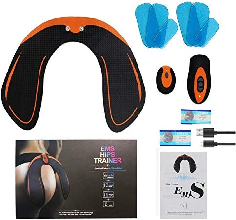 JUNBESTN Hips Trainer, EMS Buttocks/Hips Trainer Muscle Toner with 6 Gel Pads Butt Lifting Buttocks Enhancement Device, Smart Fitness Training Hips Shaping Equipment