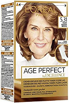 Excellence Color LOreal Paris Age Perfect 5.31 Tinte para el cabello cálido, marrón natural, paquete de 3