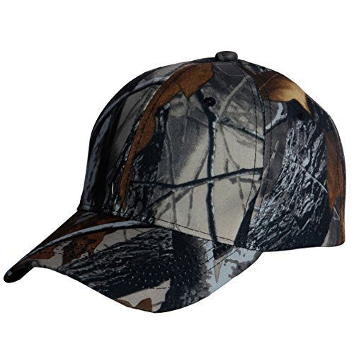 Camouflage Golf Style Cap - PT FASHIONS Unisex Camouflage Washed Hunting Cap Outdoor Polo Style Camo Baseball Cap-Grey
