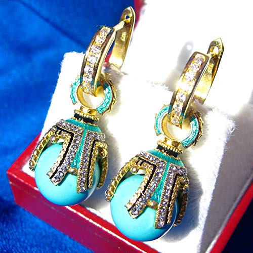 TURQUOISE SILVER EARRINGS Faberge Style Egg-shaped, 925 Sterling, Swarovski Crystals, Guilloché Enamel, 24k Gold, Silver Hoops with CZ, Gift for Her Jewelry for Woman Girls